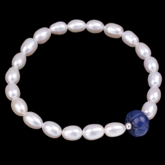 White Freshwater Pearl Rice Bead with Lapis Lazuli Rondelle Bead Bracelet, Approx 18-19cm