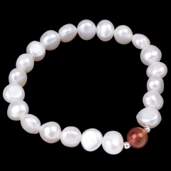 White Freshwater Pearl Nugget with Red Agate Round Bead Bracelet, Approx 18-19cm