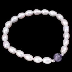 White Freshwater Pearl Rice Bead with Amethyst Round Bead Bracelet, Approx 18-19cm