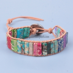 Mixed Color Impression Jasper Cuboid Bracelet | Customized Style