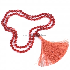 Red Agate Plain Round 8mm 108pcs Mala Knotted Necklace