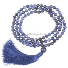Sodalite Plain Round 8mm 108pcs Mala Knotted Necklace